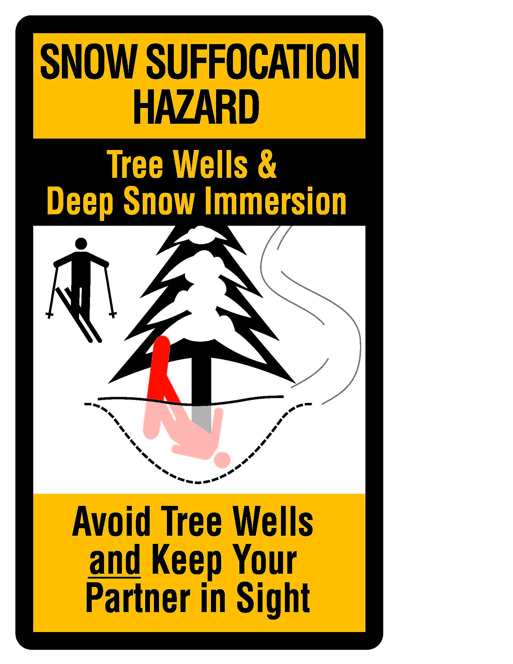 tree well safety poster with snowboarder